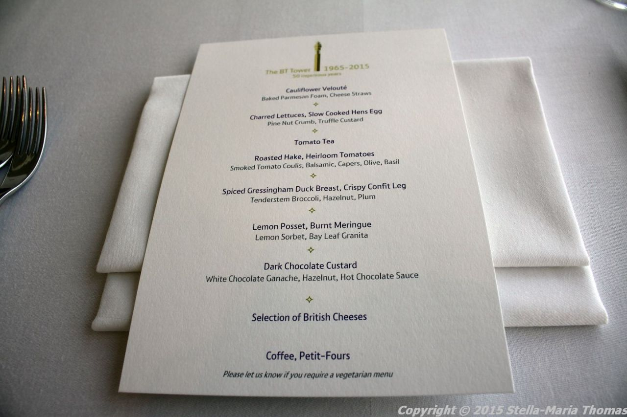 BT TOWER 50TH BIRTHDAY, MENU 009