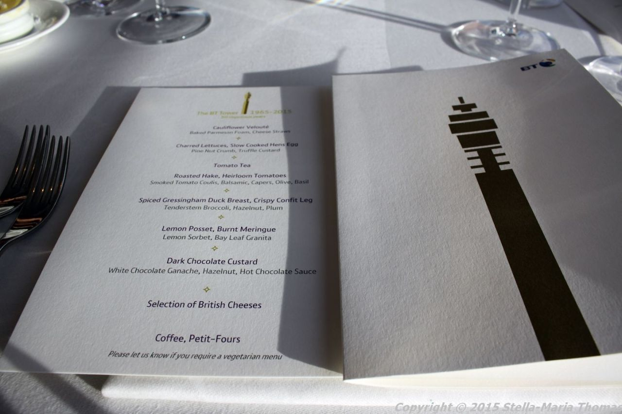 BT TOWER 50TH BIRTHDAY, MENU 010
