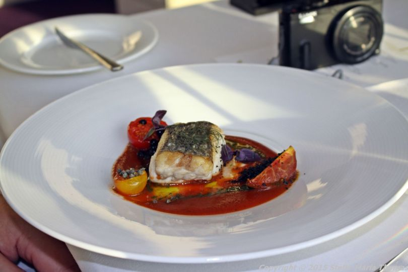 BT TOWER 50TH BIRTHDAY, ROASTED HAKE, HEIRLOOM TOMATOES, SMOKED TOMATO COULIS, BALSAMIC, CAPERS, OLIVE, BASIL 019