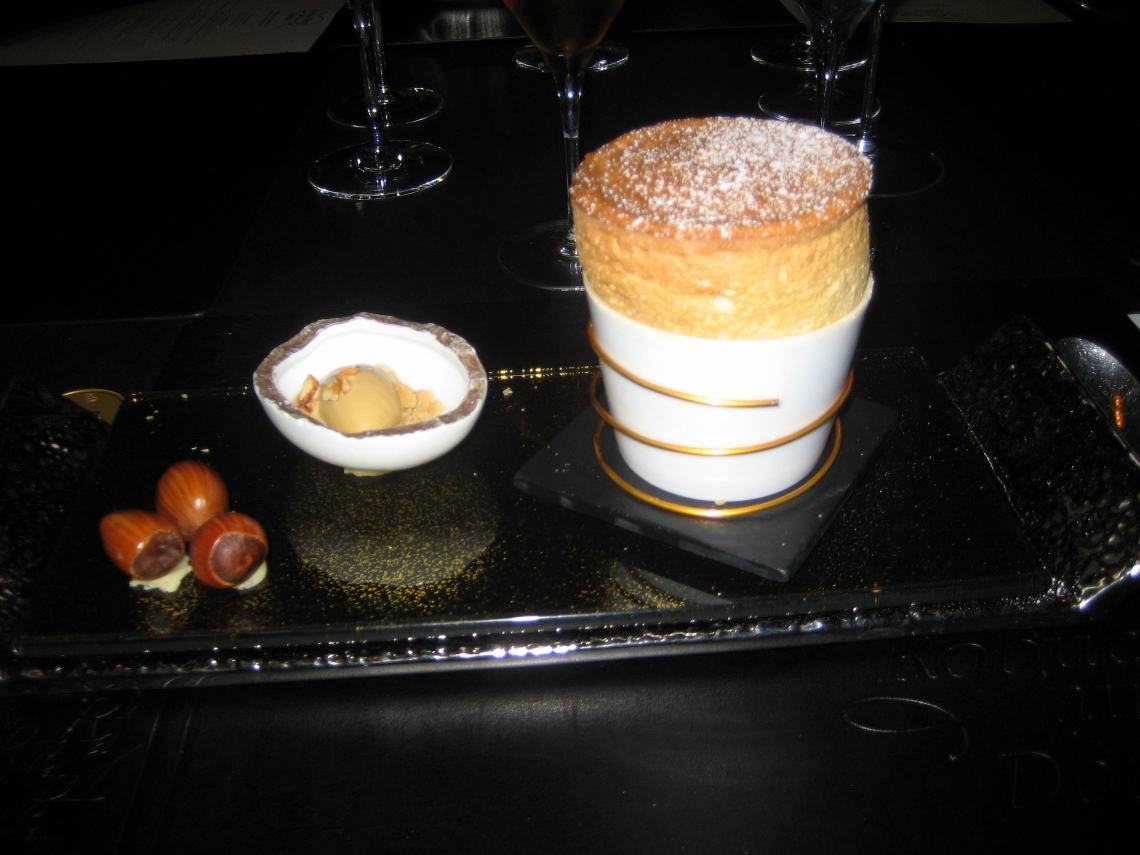 ROBUCHON AU DOME, HOT HAZELNUT SOUFFLE WITH CHOCOLATE MARBRE, SALTY CARAMEL ICE CREAM 028