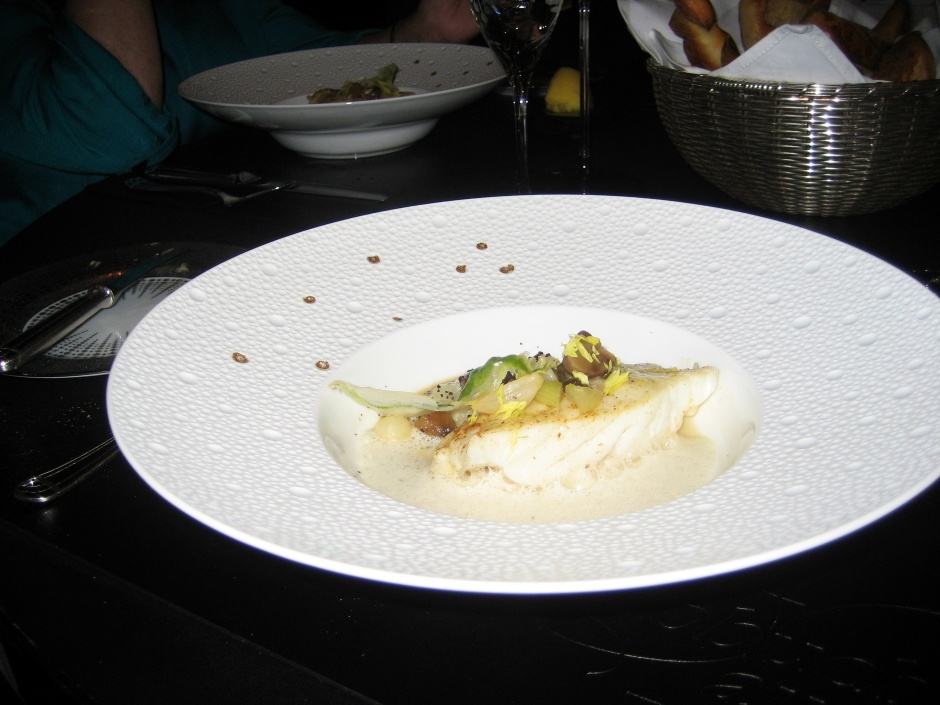 ROBUCHON AU DOME, ROASTED TURBOT WITH CELERY RAGOUT, CONFIT CHESTNUT AND CHATEAU CHALON EMULSION 020