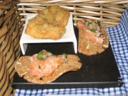 WHITES, CANAPES, JERK CHICKEN, SMOKED SALMON ON RYE TOAST 005