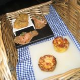 WHITES, CANAPES, JERK CHICKEN, SMOKED SALMON ON RYE TOAST, CHEESE AND LEEK TARTLET 004