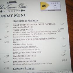 THE NARROW BOAT, MENU 006