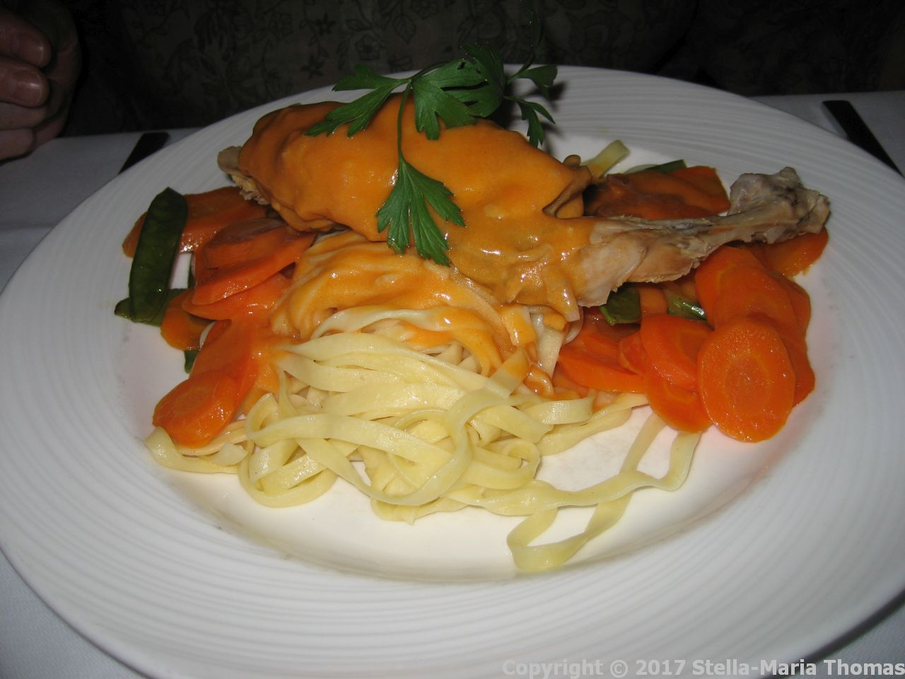 BRASSERIE - RABBIT WITH NOODLES, SAUCE, SUGAR SNAP PEAS AND CARROTS 009