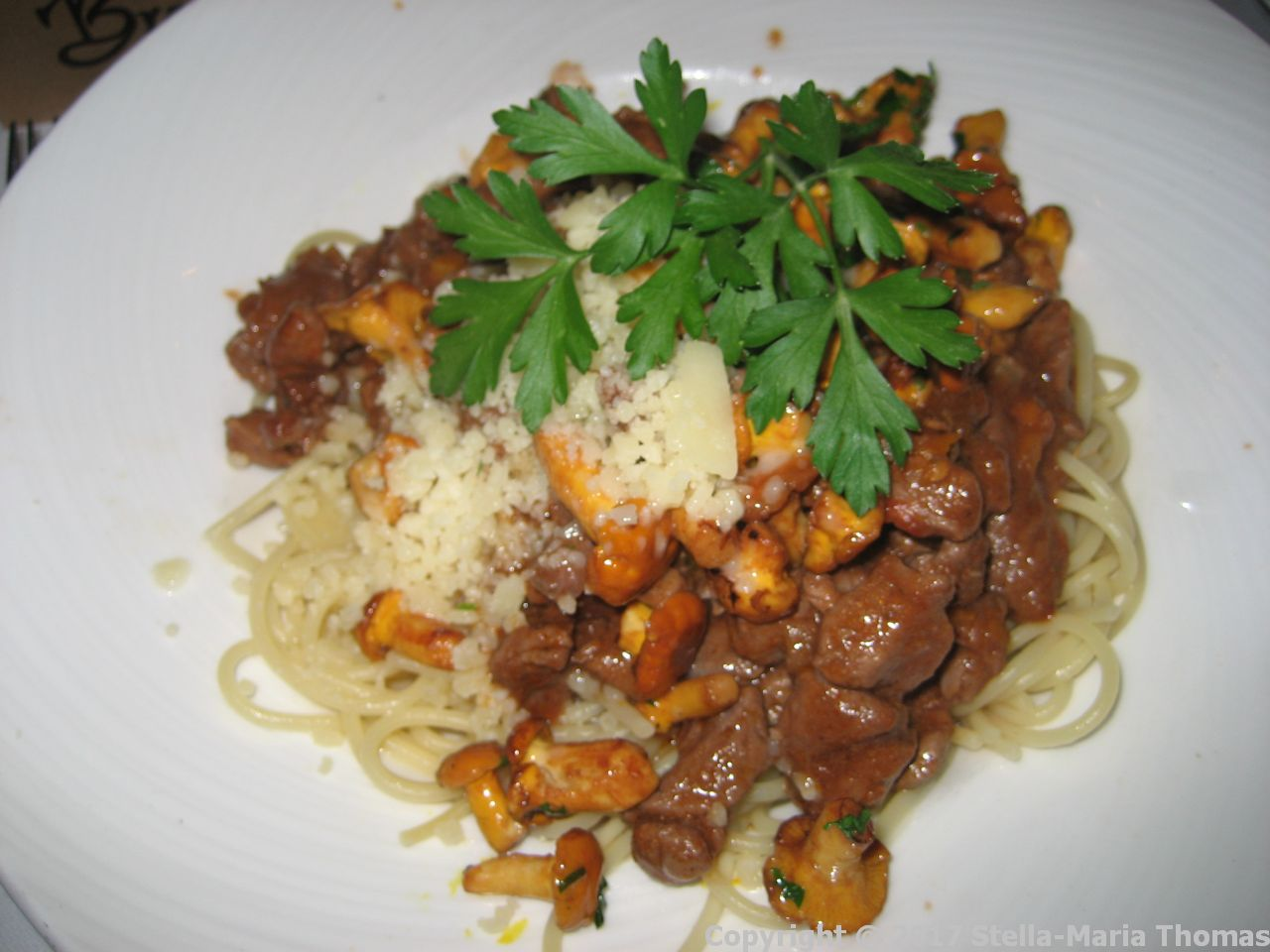 BRASSERIE - SPAGHETTI RAGOUT (VENISON WITH OYSTER MUSHROOMS, PARMESAN AND A GARDEN SALAD) 010