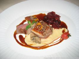 SAXLER'S RESTAURANT - PINK DUCK BREAST WITH A PEPPERCORN CRUST, CELERIAC PUREE AND A PORT WINE JUS 007