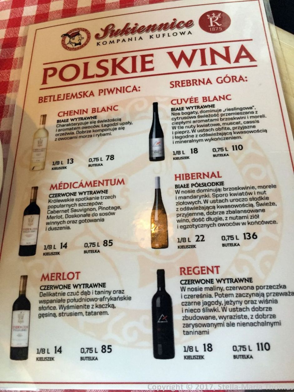 CAFE SUKIENNICE, WINE LIST 003