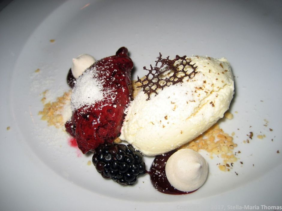 WENTZL, WHITE CHOCOLATE MOUSSE, BLACK TRUFFLE, CURRANT SAUCE, NUT CRUMB 019