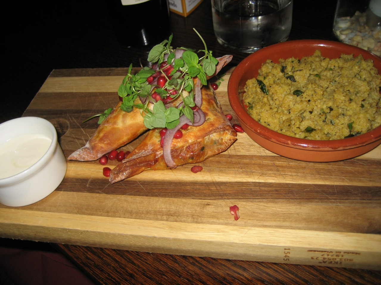 the-fox-and-hounds-harissa-spiced-lamb-feta-and-spinach-parcel-spiced-bulgur-wheat-pomegranate-salad-honey-yogurt-004_36620782310_o