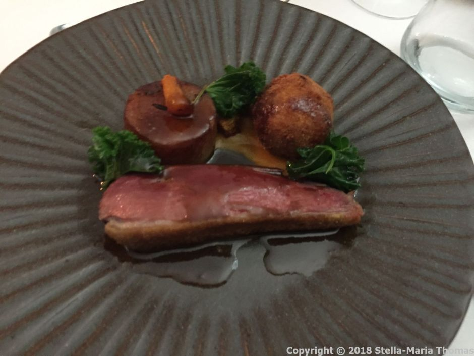 HIBISCUS, ROASTED DUCK BREAST, CONFIT DUCK BONBON, PUMPKIN, KALE, FIVE SPICE AND HONEY JUS 007