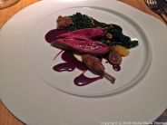 LE MIRAZUR, MENTON, PIGEON FROM MARIE LE GUEN, CABBAGE LEAF, RED WINE SAUCE, SPELT 014