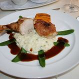hotel-moselschild-olivers-restaurant-guinea-fowl-with-lemon-thyme-risotto-carrot-vanilla-flan-and-sugar-snap-peas-012_3617384265_o
