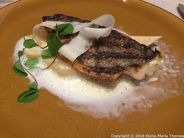 LE CIGALON, SEARED SEA BREAM, SALSIFY AND GREEN PEPPERCORN SAUCE 009
