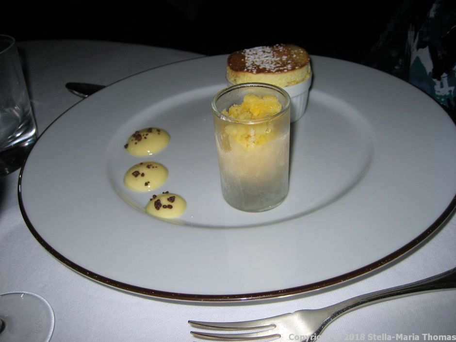 CHATEAU D'ETOGES, MENU GOURMANDE, PASSION FRUIT SOUFFLE, GRAND MARNIER AND PASSION FRUIT GRANITA 015