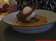 CHATEAU D'ETOGES, POACHED EGG ON SPINACH ROYALE, CREAMY CRAYFISH SAUCE 007
