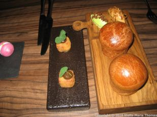 THE OXFORD KITCHEN, PULLED PORK CUBES, THYME BRIOCHE, MALTED BUTTER WITH ONIONS, WILD GARLIC BUTTER WITH BACON 004