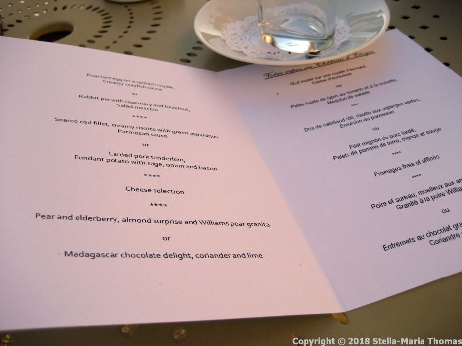 CHATEAU D'ETOGES, MENU 002