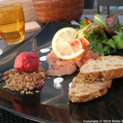 HOTEL RESTAURANT LA CITADELLE, BLAYE, MARINATED SALMON WITH AROMATIC HERBS, BEETROOT SORBET 022