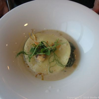LE RESTAURANT, CAP FINISTERRE, CRAB AND LANGOUSTINE LASAGNE, CREAMY BROTH WITH BASIL 004