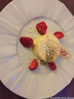 RASCILLS, WHITE CHOCOLATE, VANILLA AND ORANGE PANNA COTTA, STRAWBERRIES, AND WHITE CHOCOLATE SOIL 013