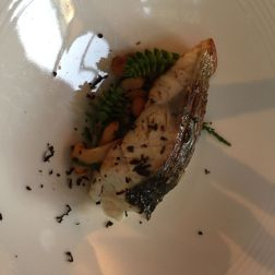 THE HARROW AT LITTLE BEDWYN, CORNISH LINE CAUGHT SEA BASS WITH GIROLLES AND SEA ASPARAGUS 016