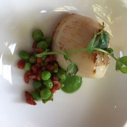 THE HARROW AT LITTLE BEDWYN, DIVER CAUGHT ORKNEY SCALLOP WITH CHORIZO AND PEAS 008