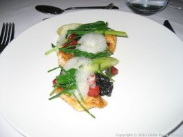 HIBISCUS, PAN-ROASTED WOLF FISH, BLACK RISOTTO, FENNEL AND CHORIZO, SEA FOAM 010