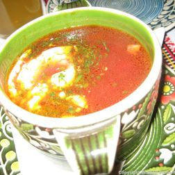 TSARSKE SELO, BORSCH Z PAMPUSHKAMY (UKRAINIAN TRADITIONAL CABBAGE AND BEET SOUP SERVED WITH WHEAT BUNS, GARLIC SAUCE AND SOUR CREAM) 018