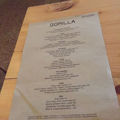 GORILLA, FEBRUARY 2019, MENU 001