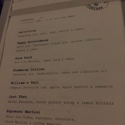 KODBYENS FISKEBAR, JANUARY 2019, COCKTAIL LIST 004