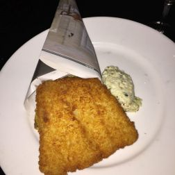 KODBYENS FISKEBAR, JANUARY 2019, FISH AND CHIPS (LIGHTLY SMOKED COD, HAND CUT POTATOES AND RAW REMOULADE) 013