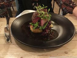 THE GARAGE, PAN SEARED VENISON STEAK WITH BACON AND BRAISED RED CABBAGE, FONDANT POTATO AND A PINK PEPPERCORN AND REDCURRANT JUS 005