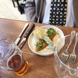 SUNDAY LUNCH AT THE MUDDY DUCK, COURGETTE FLOWER STUFFED WITH CREAM CHEESE, OLIVES, SUN-DRIED TOMATO, PUTANESCA SAUCE 004