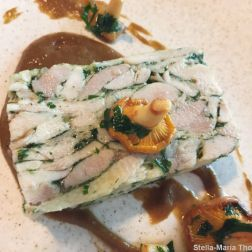 SAUCE SUPPER CLUB, CHICKEN AND SMOKED EEL TERRINE, PICKLED GIROLLES, JALAPENO MISO 009