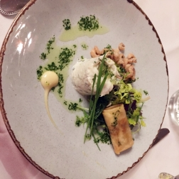 HOTEL KASTEEL BLOEMENDAL, RILLETTE OF COD WITH DUTCH SHRIMPS, SPRING ROLL WITH ORIENTAL VEGETABLES, SESAME CREAM 007