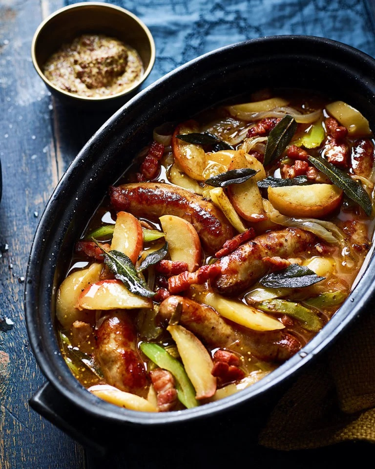 Food 2019 – Recipes (Celeriac, Pancetta and Hazelnut Soup; Tartiflette; Sausage and Cider Casserole with Apples and Sage)