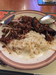 FIRE ISLANDS, FIVE MINUTE STIR FRY BEEF, AUBERGINE WITH SHRIMP PASTE, JASMINE RICE 002