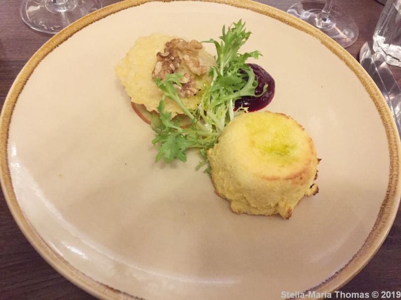 THE FOLLY, SOUFFLE (SMOKED CHEDDAR CHEESE TWICE-BAKED SOUFFLE, WALDORF SALAD, CAULIFLOWER CHEESE PUREE, PARMESAN CRISP) 001