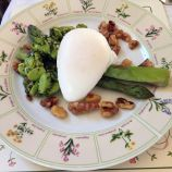 THE FOLLY, TASTING MENU, POACHED DUCK EGG, ASPARAGUS, GLAZED WALNUTS, BROAD BEAN AND WILD MINT PESTO 022