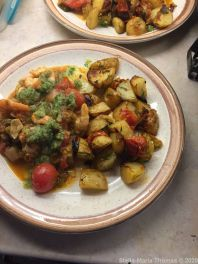 FALASTIN, DINNER (ZA'ATAR ROLLS, BATATA BIL FILFIL, PRAWN AND TOMATO STEW WITH CORIANDER SAUCE) 001