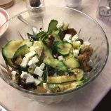UNDER THE OLIVE TREE, GRIDDLED COURGETTE RIBBONS WITH FETA AND MINT LEMON DRESSING 017